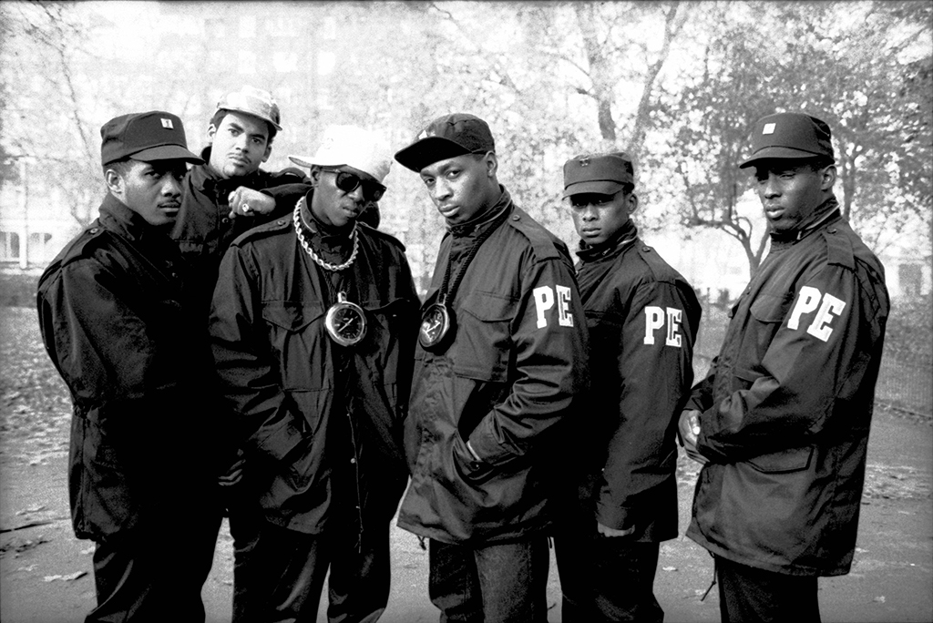 Photo of Flavor FLAV and Chuck D and PUBLIC ENEMY